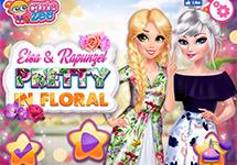 Elsa y Rapunzel estilo floral