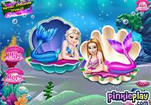 Vestir a Elsa y Anna de sirenas