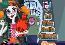 Vestir a Skelita en clase de arte